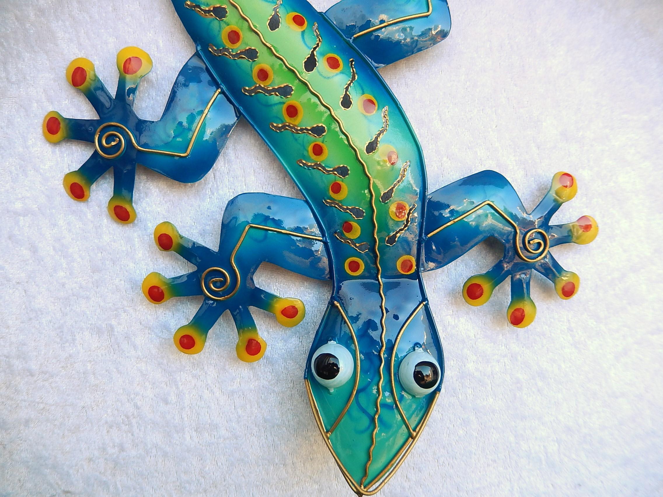 Gecko Eidechse Salamander Echse Wanddeko Metall Gartendeko Blechfigur Geko bunt